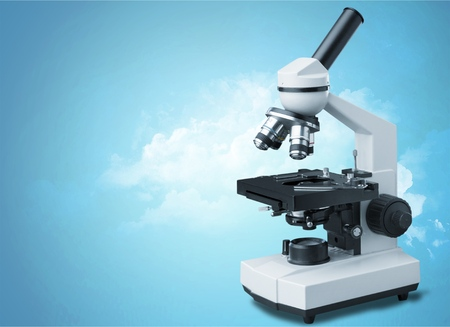 Compound Upright Metallurgical Microscope Isolated on White Background. Science Equipment