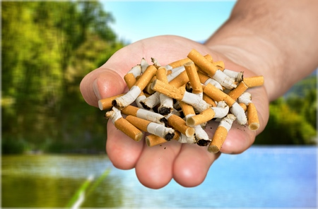 Man refusing cigarettes concept for quitting smoking and healthy lifestyle Stock Photo
