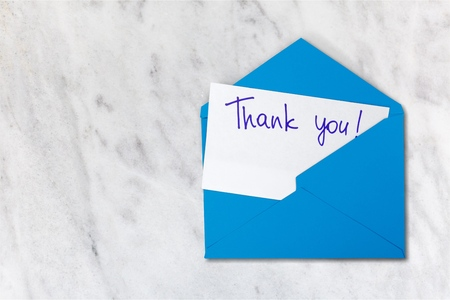 Blank card and envelope with thank you Stock Photo