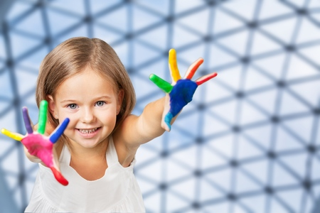 Hands painted children on blurred background Stock Photo