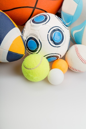 sports balls on white background