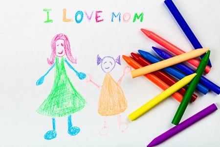 Child drawing of her mother for mothers day