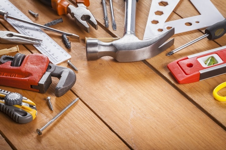 Construction tools. Home and house renovation concept background Stockfoto