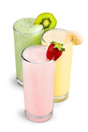 Strawberry, Banana and Kiwi Smoothies Banco de Imagens