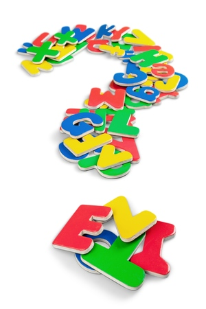 Foam Letters Forming a Question Mark Isolated