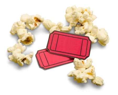 Popcorn with Tickets Stock Photo