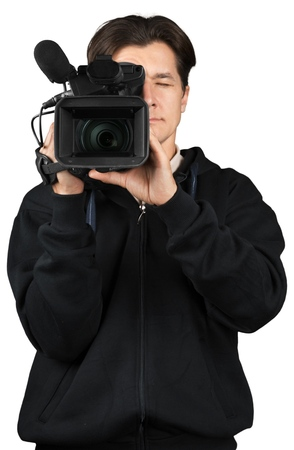 Closeup of a Cameraman Filming Stock Photo