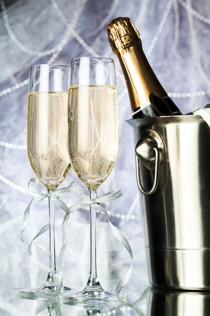 Champagne Glasses and Bottle in a Bucket