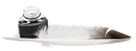 Feather Quill and Inkwell Stock fotó