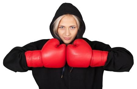 Portrait of a Female Boxer Stock Photo