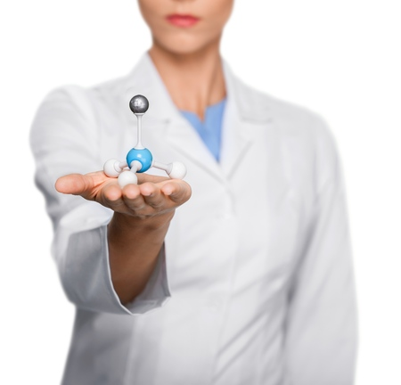Scientist holding molecule form isolated on white background, close up