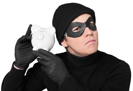 Portrait of a Thief Holding Piggy Bank