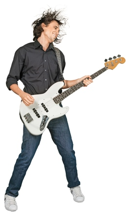 Portrait of young handsome man play guitar isolated on white background Banco de Imagens