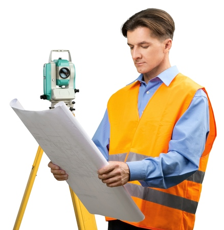 Portrait of a Land Surveyor Working with Modern Theodolite and Blueprint