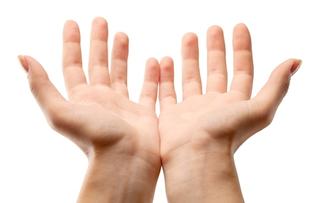 Hands Cupped Stock Photo
