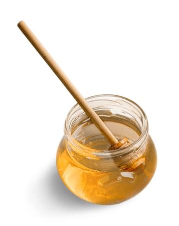 Honey Jar with Honey Dipper Stock Photo