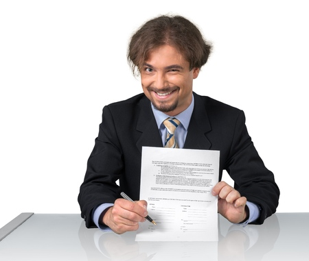 Portrait of a Sleazy Businessman Showing Contract