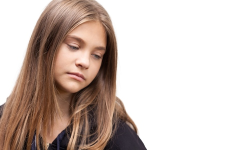 Portrait of a Young Girl Thinking  Sad Stock Photo