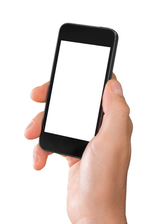 Hand Holding an iPhone with Blank Screen