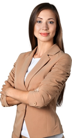 Portrait of young businesswoman in suit isolated on white Stock Photo