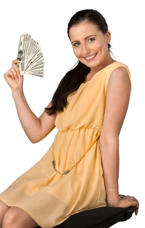 Portrait of a Smiling Woman Holding Money
