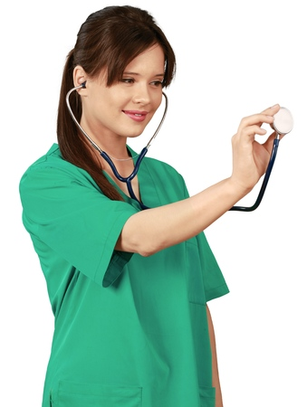 Portrait of beautiful young woman doctor smiling in work uniform