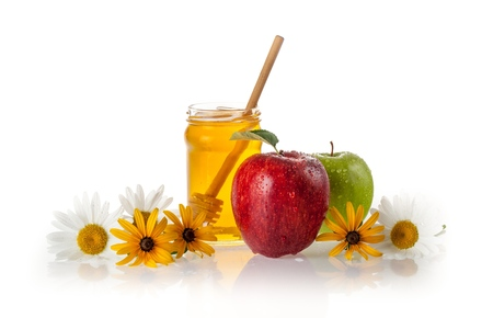 Honey Jar with Apple and Daisies