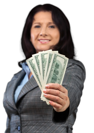 working woman holding money