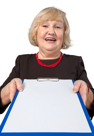 Friendly Old Woman Giving Clipboard - Isolated
