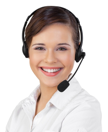 Young Woman in Headset as Support Phone Operator Stok Fotoğraf