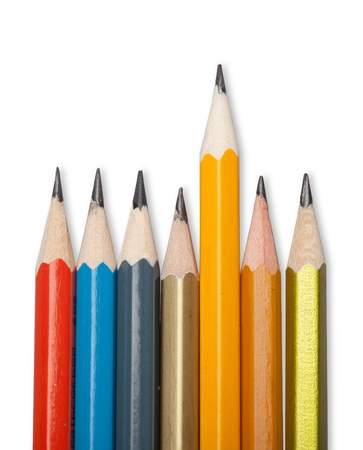 Colorful wooden pencils on white background Stock Photo
