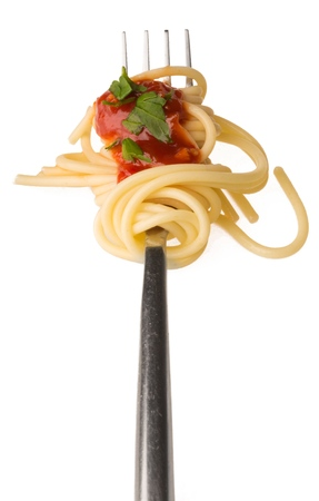 Spaghetti on a Fork with Tomato Sauce and Parsley