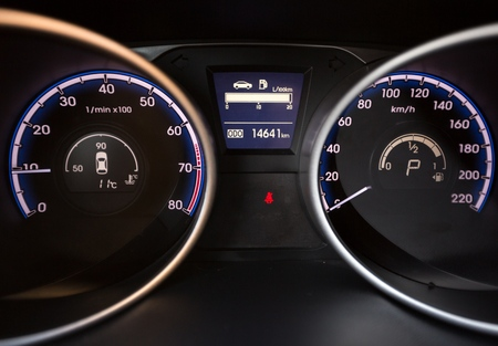 Part of Dashboard Instruments in a Modern Car