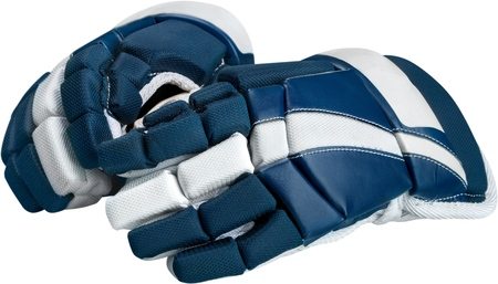 Pair of Blue and White Ice Hockey Gloves, Isolated on Transparent Background Stock Photo