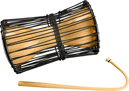 Talking Drum with Striker Mallet - Isolated Stock Photo