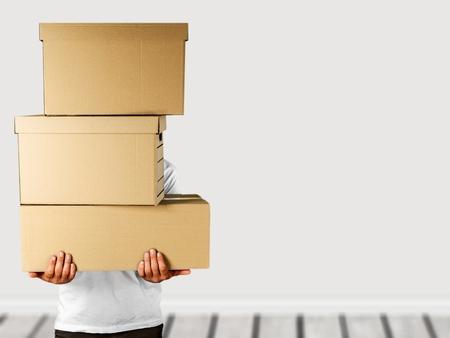 Delivery man stacked boxes Reklamní fotografie