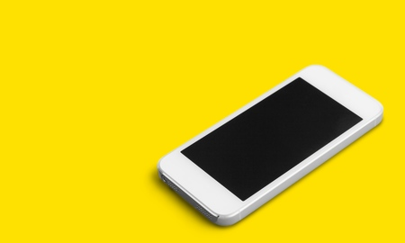 New phone on yellow background