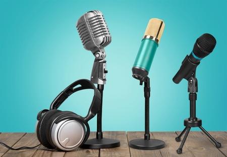 Retro old microphones
