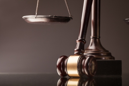 Legal system. Law and justice concept. Mallet, legal code and scales of justice.  Studio shots, nice bokeh, studio shots
