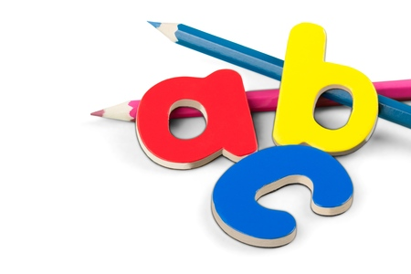 Foam Letters Laying with Pencils Isolated Stock fotó