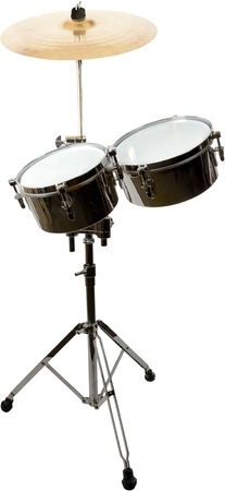Two Tom Drums and Cymbal on Stand - Isolated