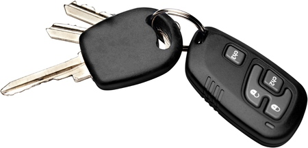 Modern car key. Isolated on white background. Stock Photo