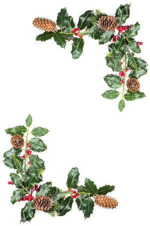 Christmas Border with Holly Leaves and Cones