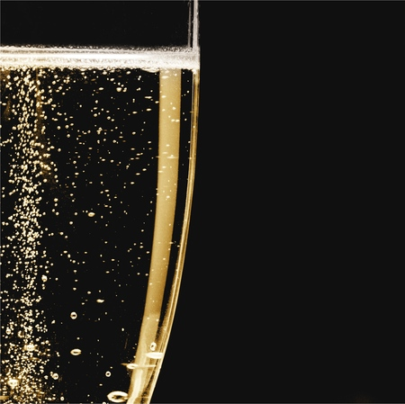 Close up Champagne bubbles in glass