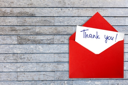 Blank card and envelope with thank you Banque d'images