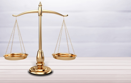 Law scales on table background Stock Photo