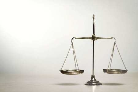 Law scales on table Stock Photo