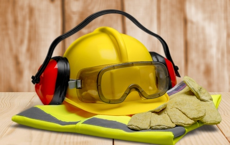 Safety Equipment - Helmet, Goggles, Ear Protection, Vest and Gloves Stock fotó