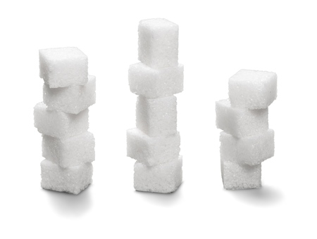 Sugur cubes on white background