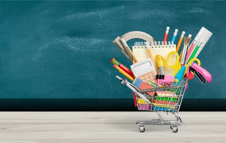 Banner of Shopping cart with school supply